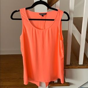 Express Neon Orange Split Back Scoop-neck Tank-M